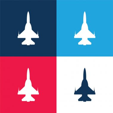 Airplane Silhouette blue and red four color minimal icon set