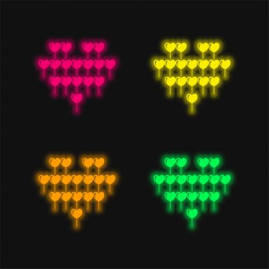 Attractive Heart Balloon Of Multiple Hearts Balloons four color glowing neon vector icon stock vector