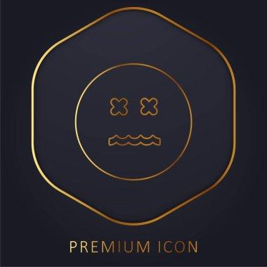 Annulled Emoticon Square Face golden line premium logo or icon