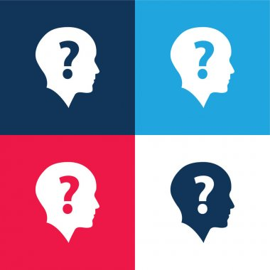 Bald Head With Question Mark blue and red four color minimal icon set stock vector