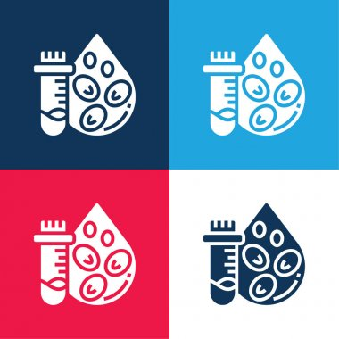 Blood Count Test blue and red four color minimal icon set stock vector