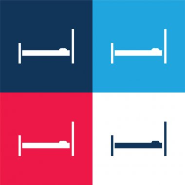 Bed Empty Side View blue and red four color minimal icon set stock vector