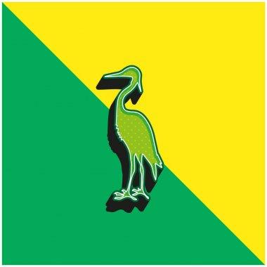Bird Crane Shape Green and yellow modern 3d vector icon logo stock vector