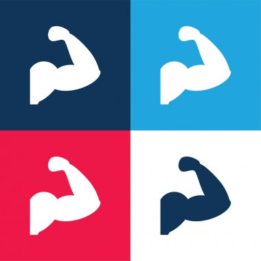 Arm Muscles Silhouette blue and red four color minimal icon set stock vector