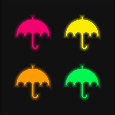 Black Umbrella four color glowing neon vector icon stock vector