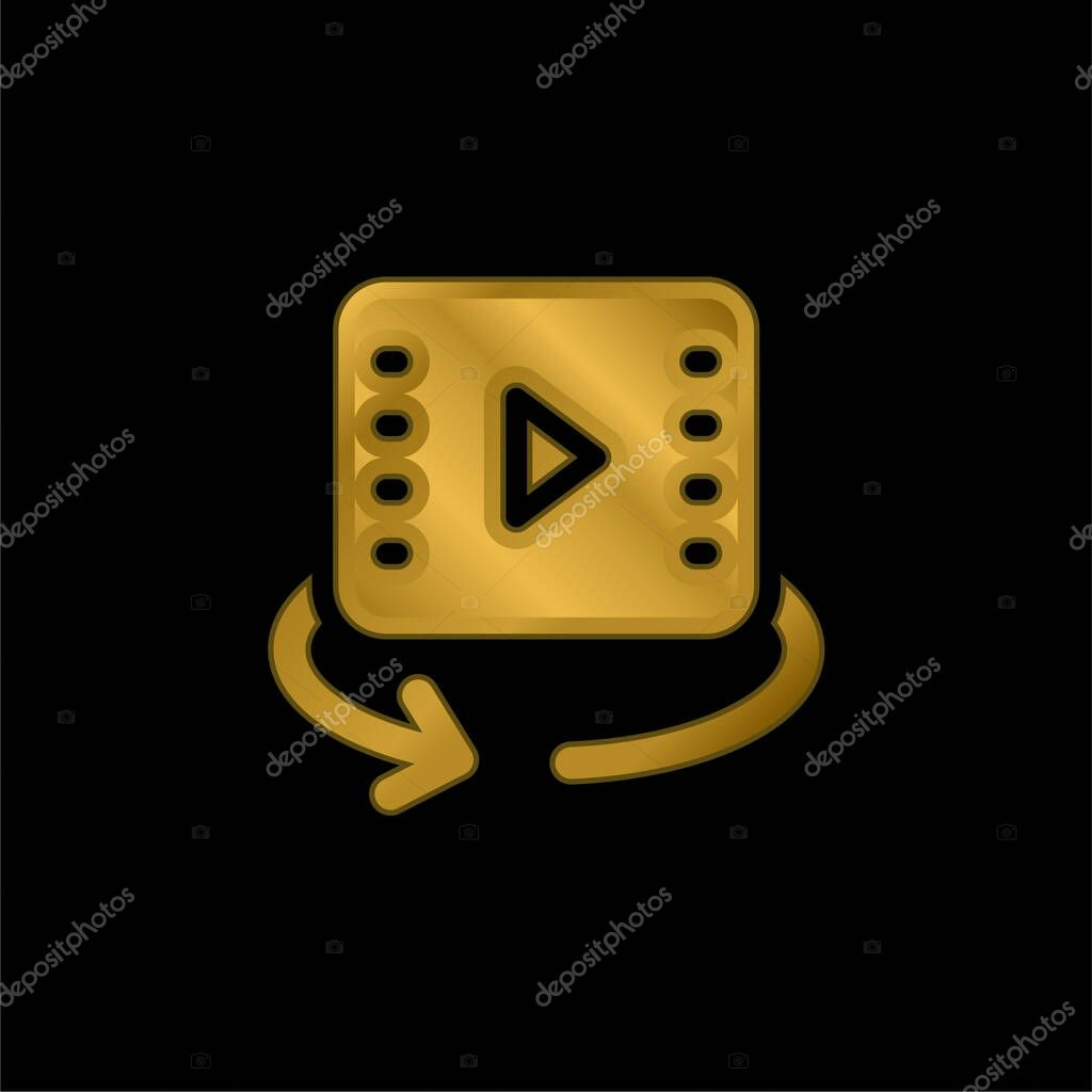 360 Video gold plated metalic icon or logo vector stock vector