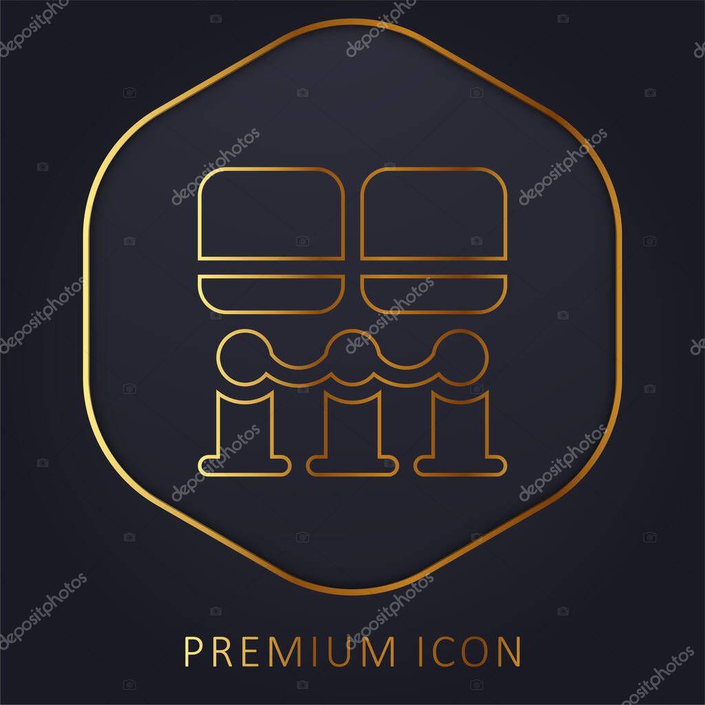 Art Museum golden line premium logo or icon stock vector