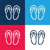 Plážové sandály ručně kreslený obrys modrá a červená čtyři barvy minimální ikona sada