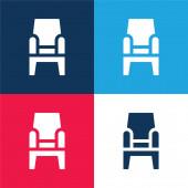 Křeslo modré a červené čtyři barvy minimální ikona nastavena