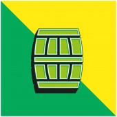 Barrel Zelená a žlutá moderní 3D vektorové logo ikony