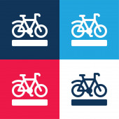 Bike Lane blue and red four color minimal icon set