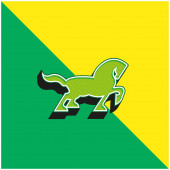 Big Black Horse Walking Side Silhouette With Tail And One Foot Up Green and yellow modern 3d vector icon logo