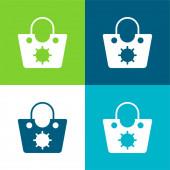 Taška Byt čtyři barvy minimální ikona nastavena