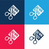 Účty modré a červené čtyři barvy minimální ikona nastavena
