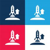 Vzestupně Raketa modrá a červená čtyři barvy minimální ikona nastavena