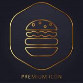 Big Hamburger zlaté linie prémie logo nebo ikona