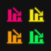 Analytics four color glowing neon vector icon