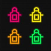 Schürze vier Farben leuchtenden Neon-Vektor-Symbol