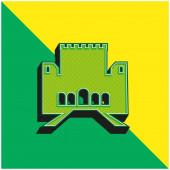 Alhambra Zöld és sárga modern 3D vektor ikon logó