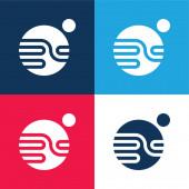 Csillagászat kék és piros négy szín minimális ikon készlet