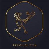 Baseballspieler goldene Linie Premium-Logo oder Symbol