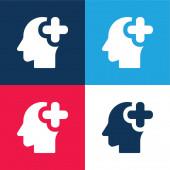 Brain Organ kék és piros négy szín minimális ikon készlet