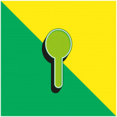 Fekete sziluett alakú objektum, mint egy kanál Zöld és sárga modern 3D vektor ikon logó