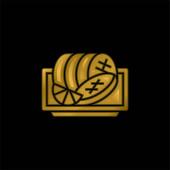 Hovězí pozlacená metalická ikona nebo vektor loga