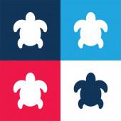 Nagy teknős kék és piros négy szín minimális ikon készlet