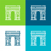 Vítězný oblouk Byt čtyři barvy minimální ikona nastavena