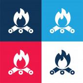 Lagerfeuer blau und rot vier Farben minimales Symbol-Set