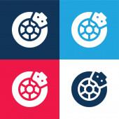 Fékkék és piros négy szín minimális ikon készlet