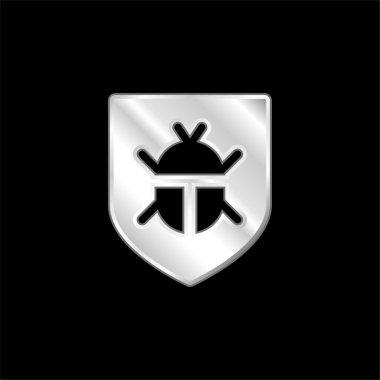 Antivirus silver plated metallic icon stock vector