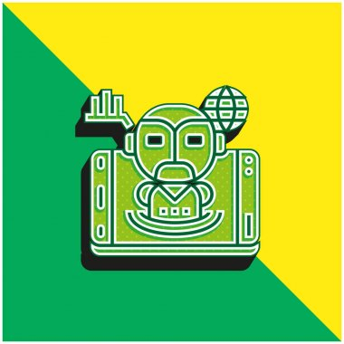 Artificial Intelligence Green and yellow modern 3d vector icon logo stock vector