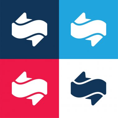 Banner blue and red four color minimal icon set stock vector