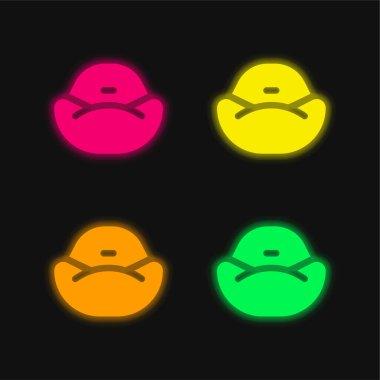 Bean Bag four color glowing neon vector icon stock vector