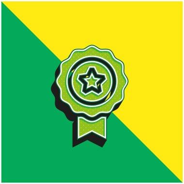 Award Green and yellow modern 3d vector icon logo stock vector
