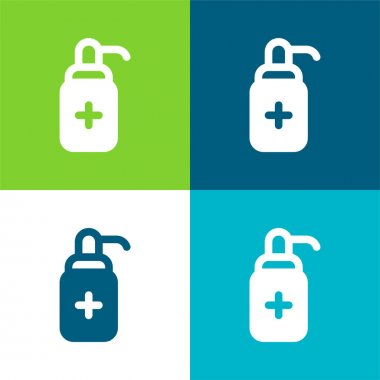 Antibacterial Gel Flat four color minimal icon set stock vector