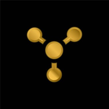 Atom gold plated metalic icon or logo vector stock vector