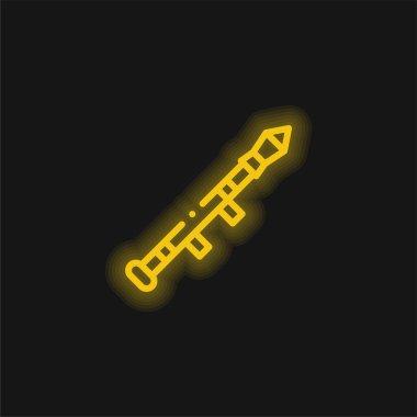 Bazooka yellow glowing neon icon stock vector