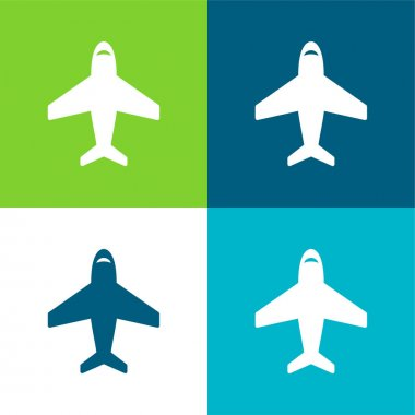Airplane In Vertical Ascending Position Flat four color minimal icon set
