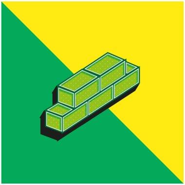 Bricks Green and yellow modern 3d vector icon logo stock vector