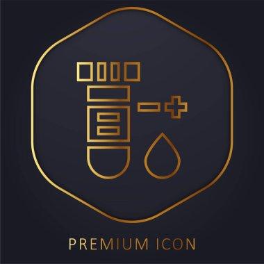 Blood Test golden line premium logo or icon stock vector