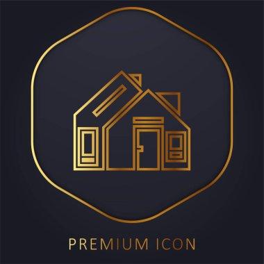 Address golden line premium logo or icon stock vector