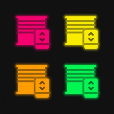 Blinds four color glowing neon vector icon stock vector