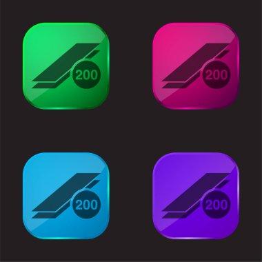 200 Prints four color glass button icon stock vector