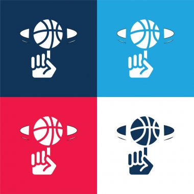 Ball blue and red four color minimal icon set stock vector