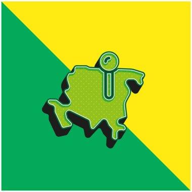 Asia Green and yellow modern 3d vector icon logo stock vector
