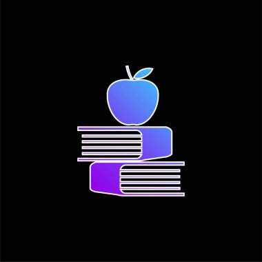 Apple And Books blue gradient vector icon stock vector