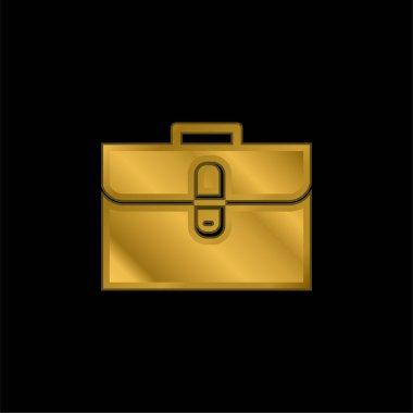Briefcase gold plated metalic icon or logo vector